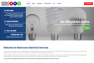 Robinsons Electrical Services - Website by Big Clould Creative Web Design in Stratford upon Avon